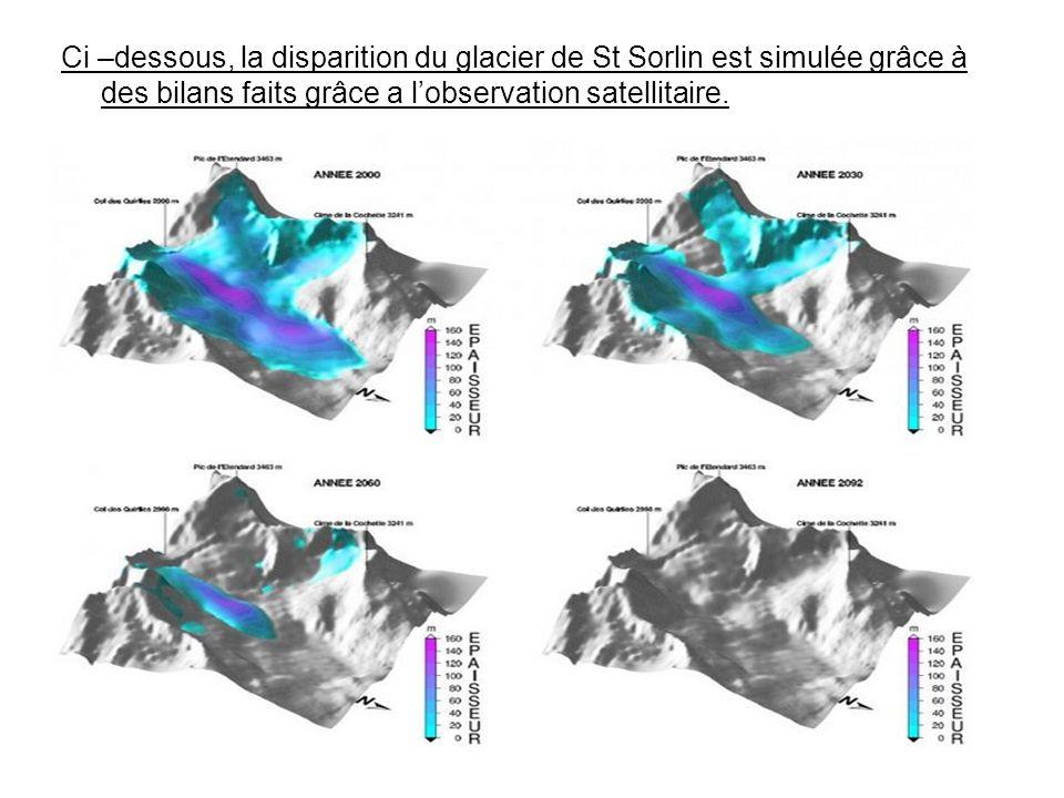 Ci –dessous, la disparition du glacier de St Sorlin est simulée grâce à des bilans faits grâce a l'observation satellitaire.