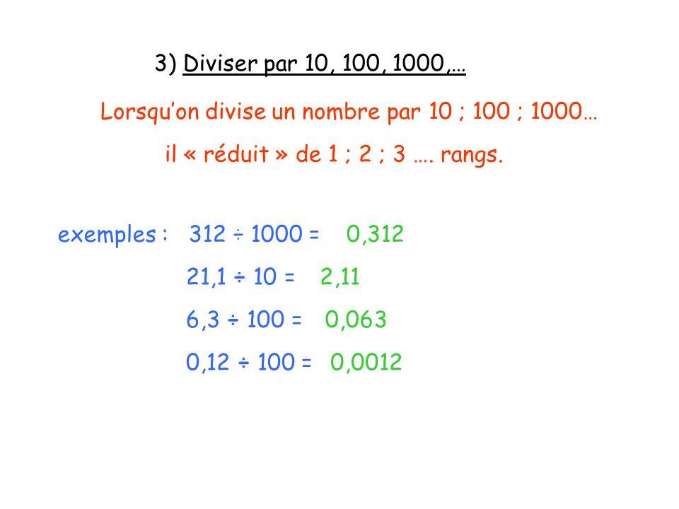 3) Diviser par 10, 100, 1000,… Lorsqu'on divise un nombre par 10 ; 100 ; 1000… il « réduit » de 1 ; 2 ; 3 …. rangs.