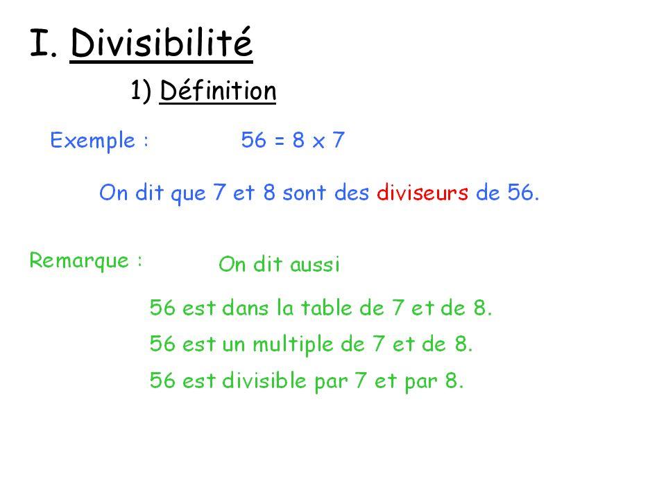 I. Divisibilité 1) Définition