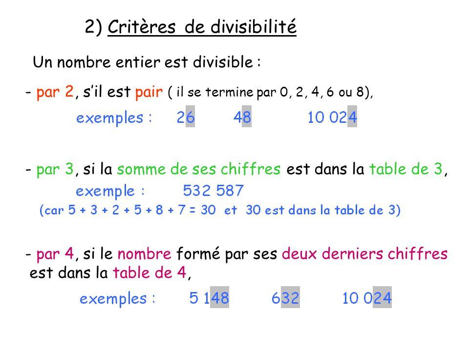 2) Critères de divisibilité