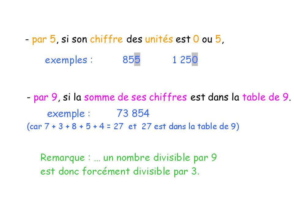 - par 5, si son chiffre des unités est 0 ou 5,