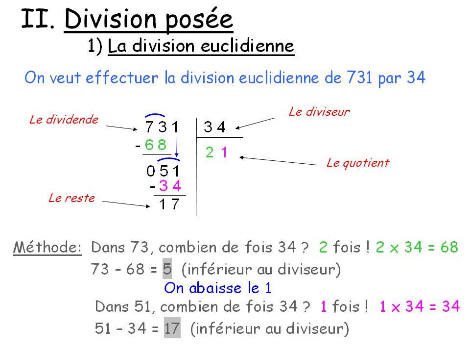 II. Division posée Le diviseur Le dividende Le quotient Le reste