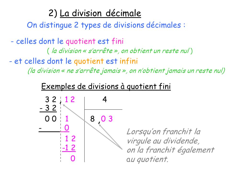 2) La division décimale On distingue 2 types de divisions décimales : - celles dont le quotient est fini.