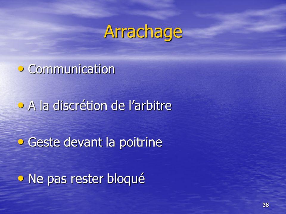 Arrachage Communication A la discrétion de l'arbitre