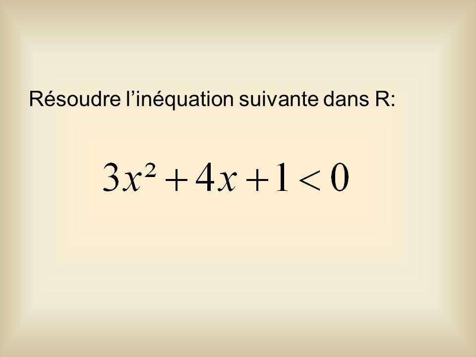 Résoudre l'inéquation suivante dans R: