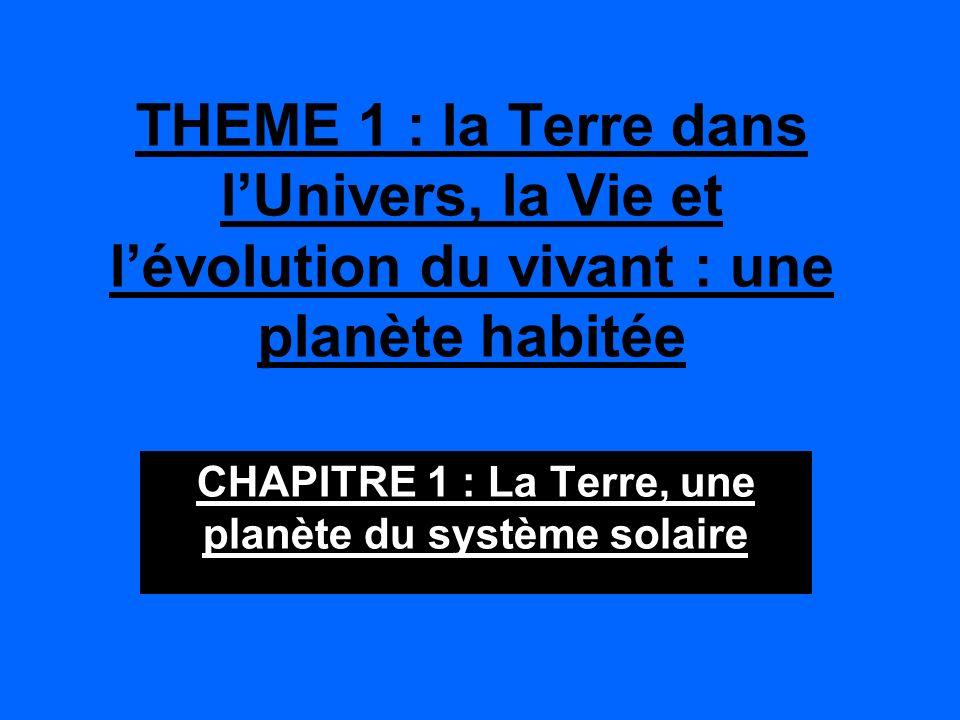 CHAPITRE 1 : La Terre, une planète du système solaire