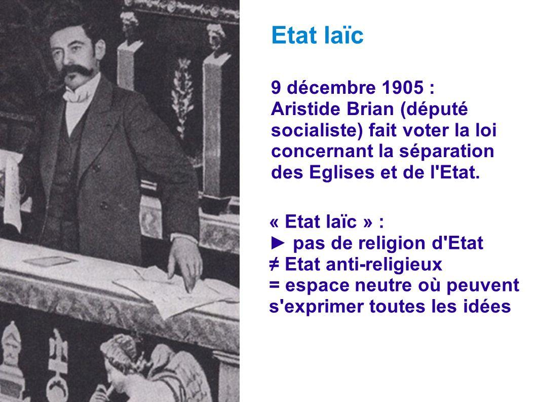 Etat laïc 9 décembre 1905 : Aristide Brian (député socialiste) fait voter la loi concernant la séparation des Eglises et de l Etat.