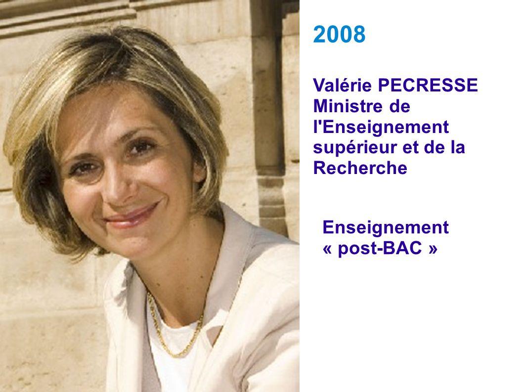 2008 Valérie PECRESSE. Ministre de l Enseignement supérieur et de la Recherche.