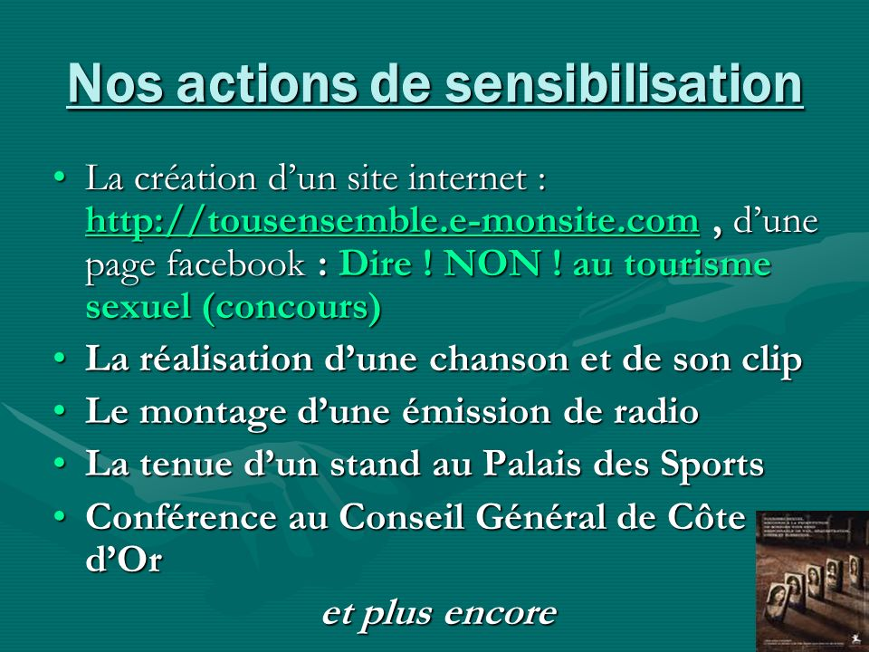 Nos actions de sensibilisation