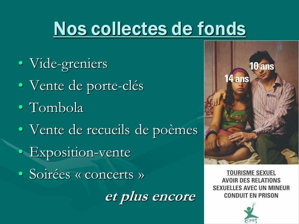 Nos collectes de fonds Vide-greniers Vente de porte-clés Tombola