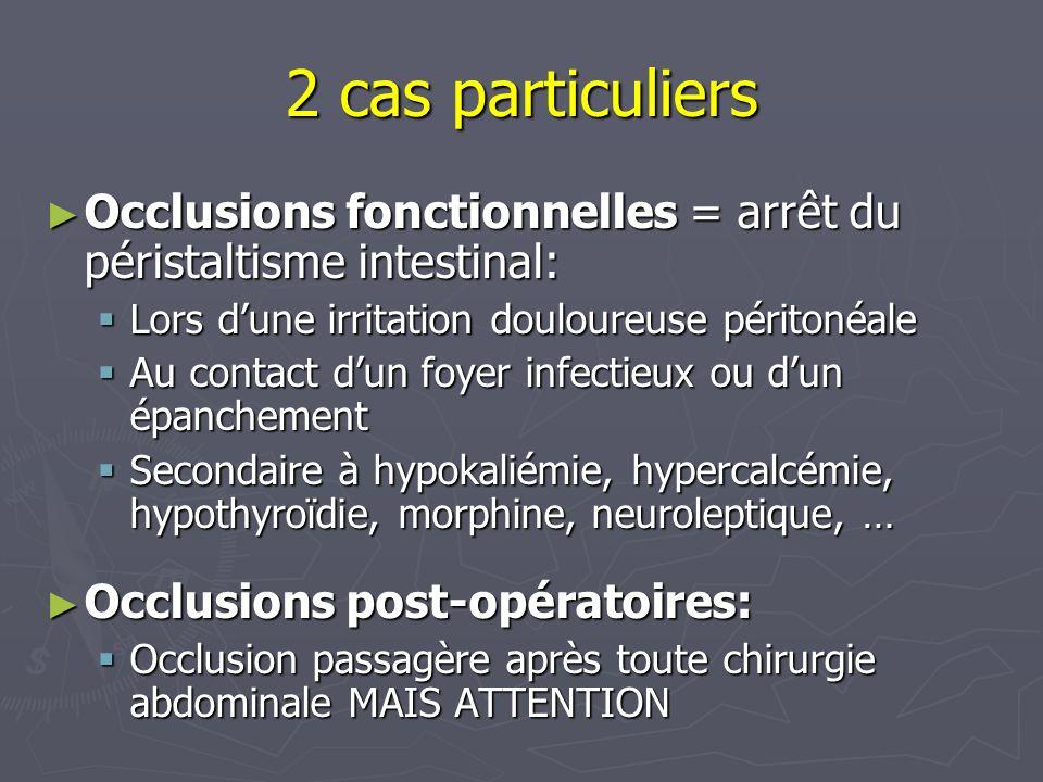 2 cas particuliers Occlusions fonctionnelles = arrêt du péristaltisme intestinal: Lors d'une irritation douloureuse péritonéale.