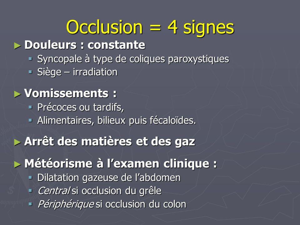 Occlusion = 4 signes Douleurs : constante Vomissements :