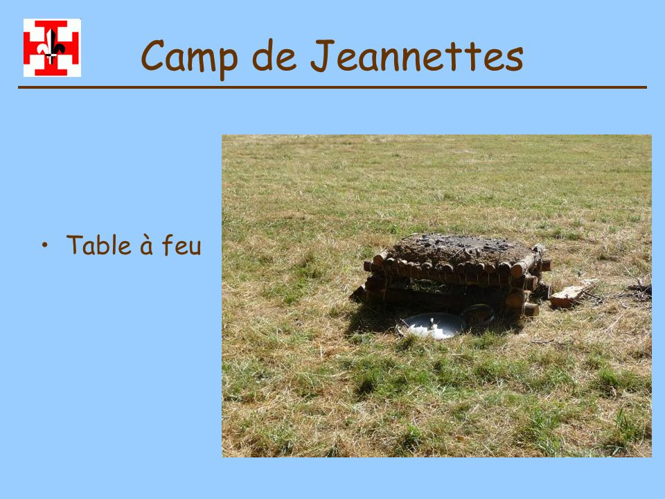 Camp de Jeannettes Table à feu