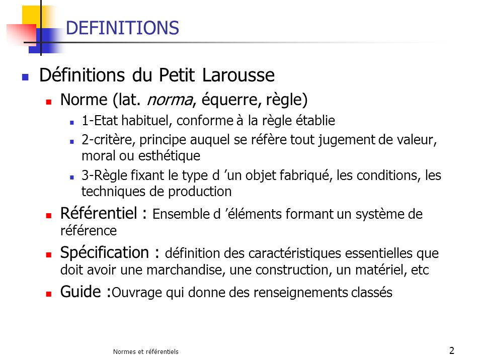 Définitions du Petit Larousse