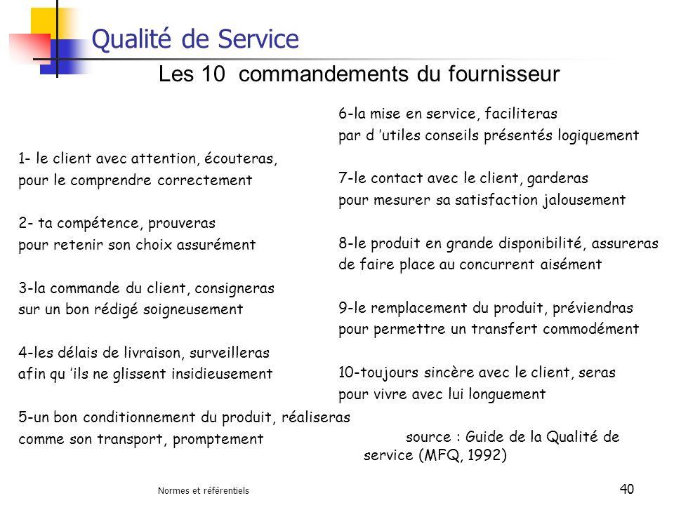 Qualité de Service Les 10 commandements du fournisseur