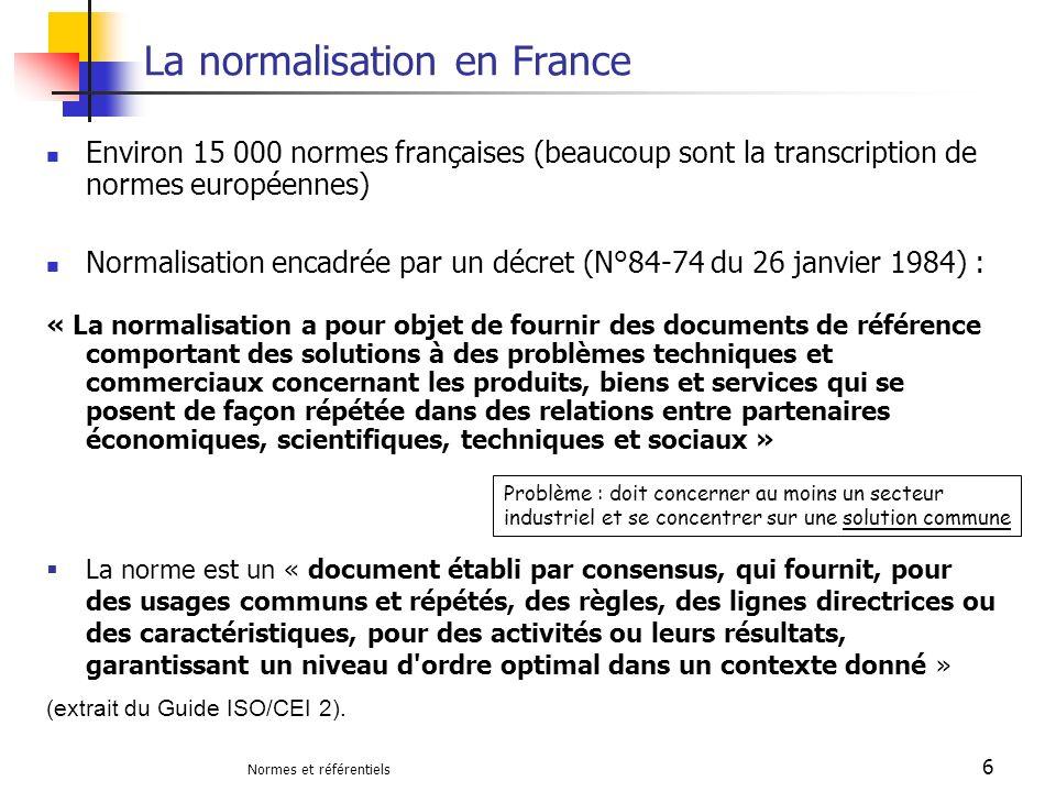 La normalisation en France