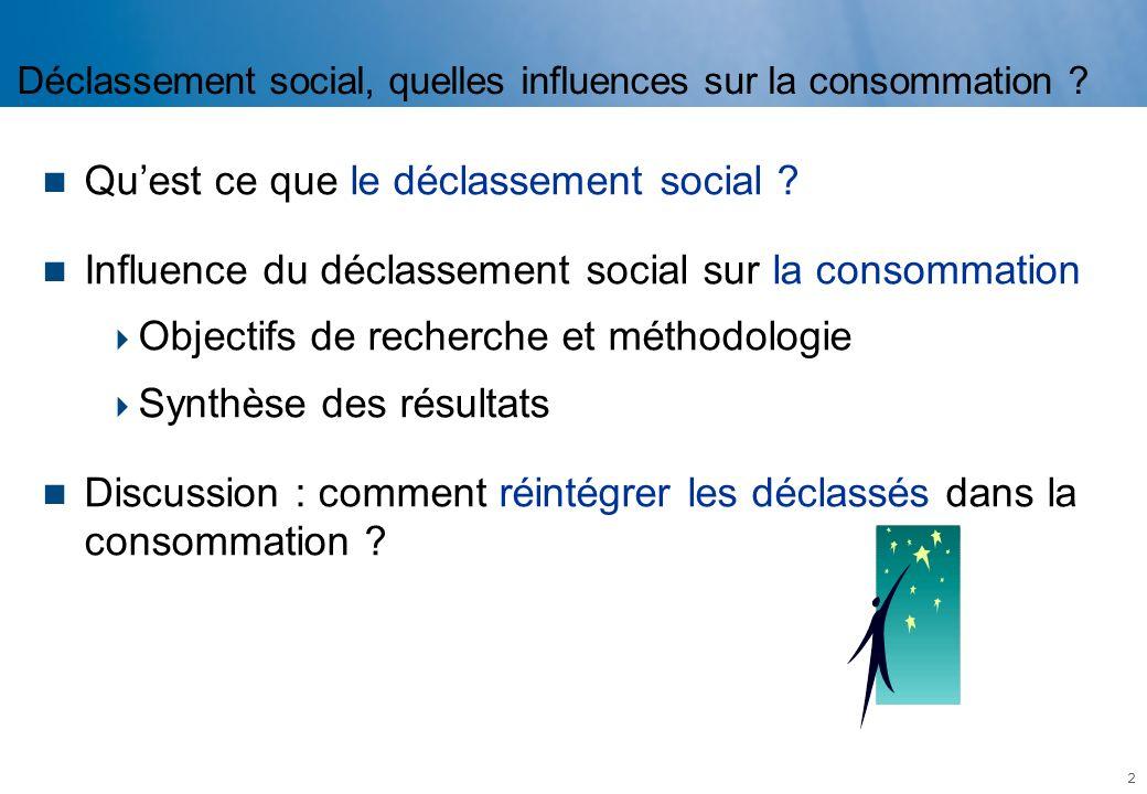 Déclassement social, quelles influences sur la consommation