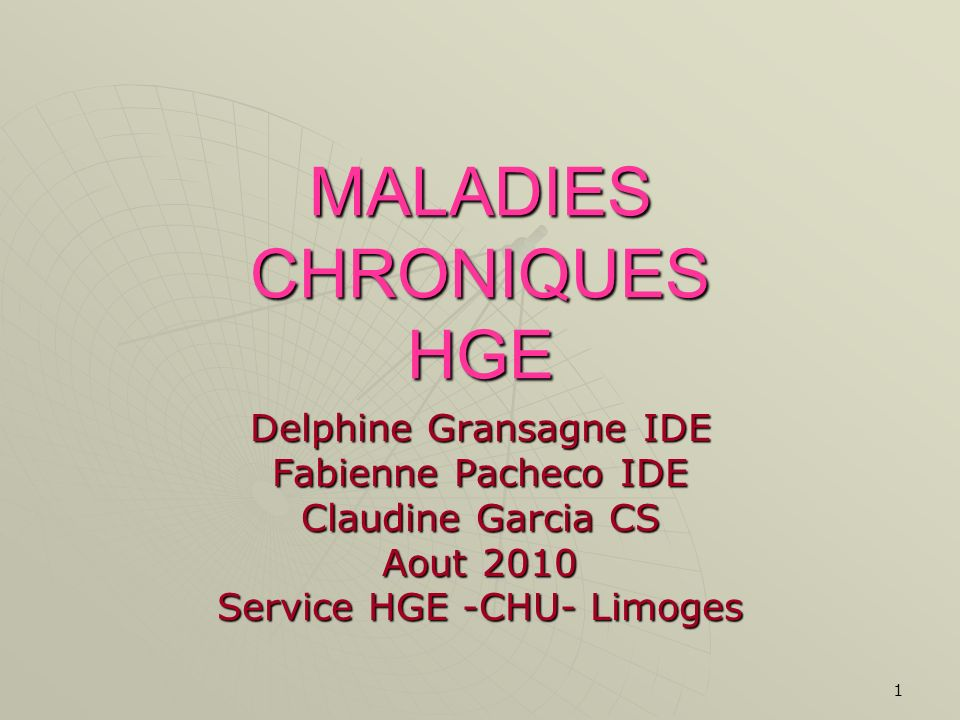 MALADIES CHRONIQUES HGE