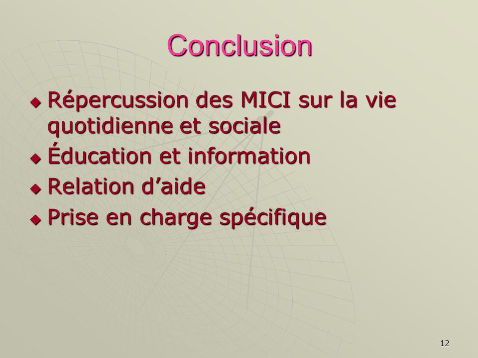 Conclusion Répercussion des MICI sur la vie quotidienne et sociale
