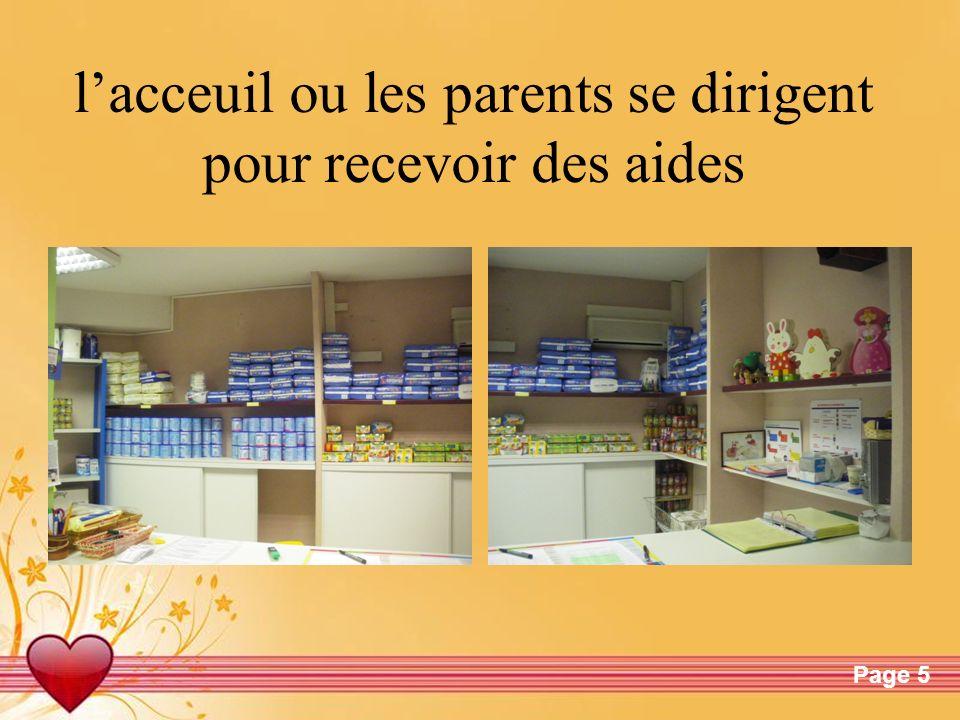 l'acceuil ou les parents se dirigent pour recevoir des aides