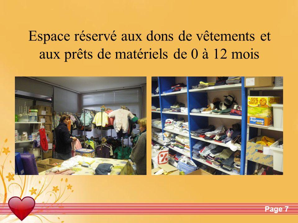 Espace réservé aux dons de vêtements et aux prêts de matériels de 0 à 12 mois