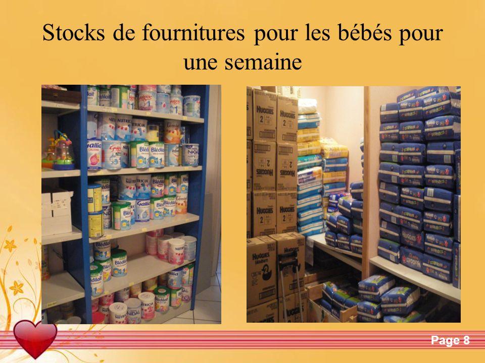 Stocks de fournitures pour les bébés pour une semaine