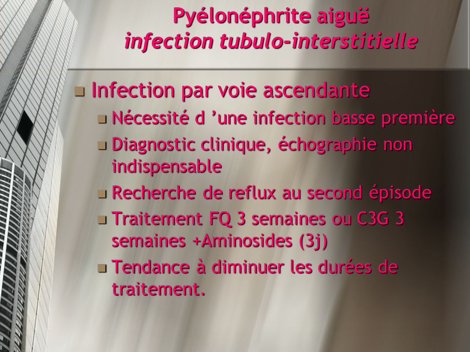 Pyélonéphrite aiguë infection tubulo-interstitielle