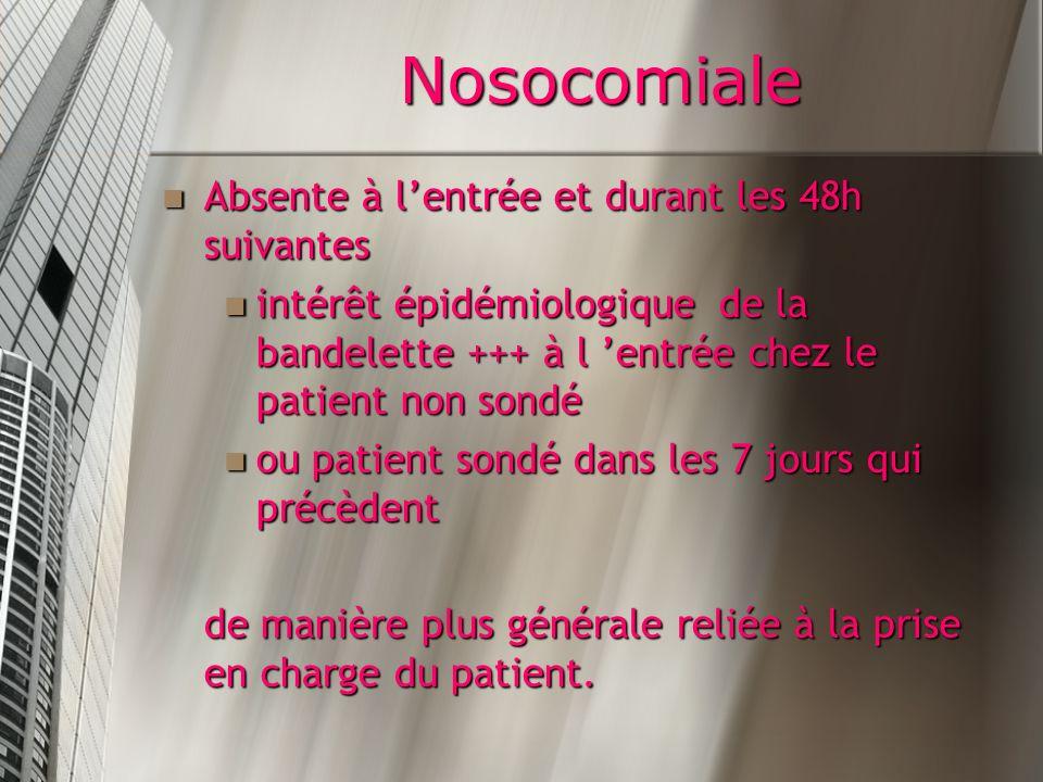 Nosocomiale Absente à l'entrée et durant les 48h suivantes