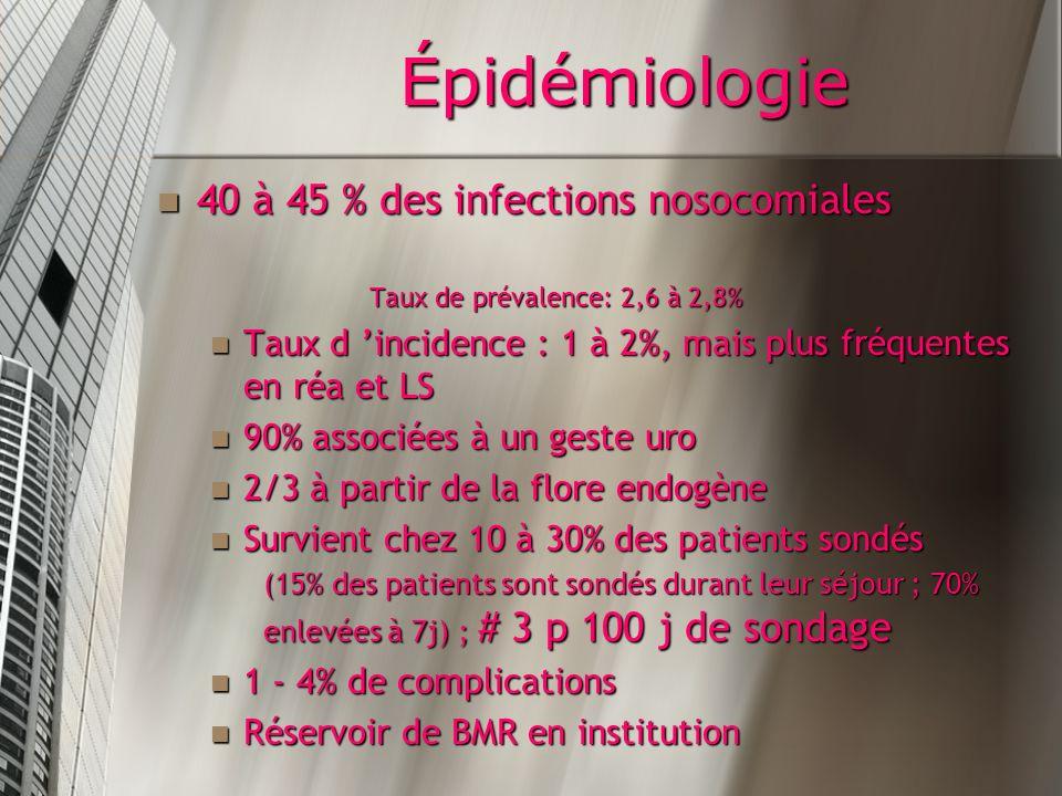 Épidémiologie 40 à 45 % des infections nosocomiales