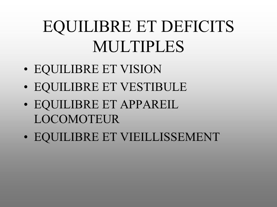 EQUILIBRE ET DEFICITS MULTIPLES