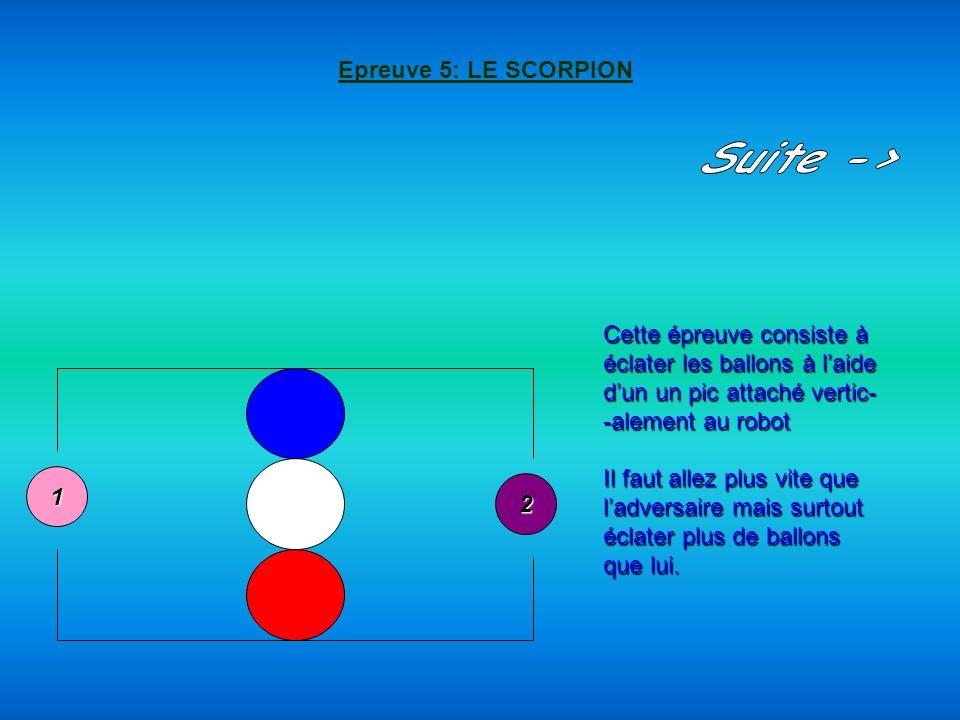 Epreuve 5: LE SCORPION Suite -> Cette épreuve consiste à. éclater les ballons à l'aide. d'un un pic attaché vertic-