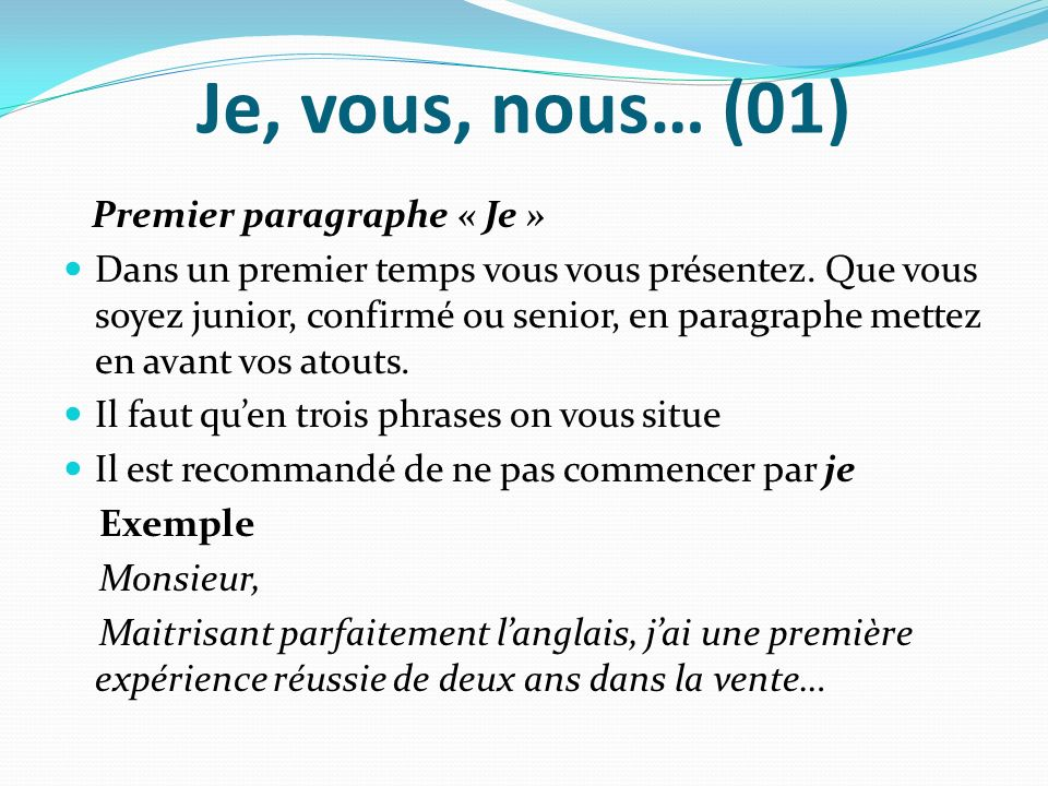 exemple lettre de motivation 1er paragraphe