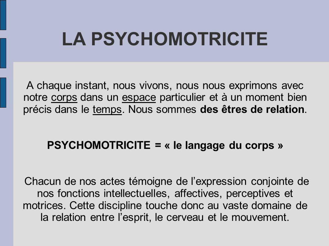 PSYCHOMOTRICITE = « le langage du corps »