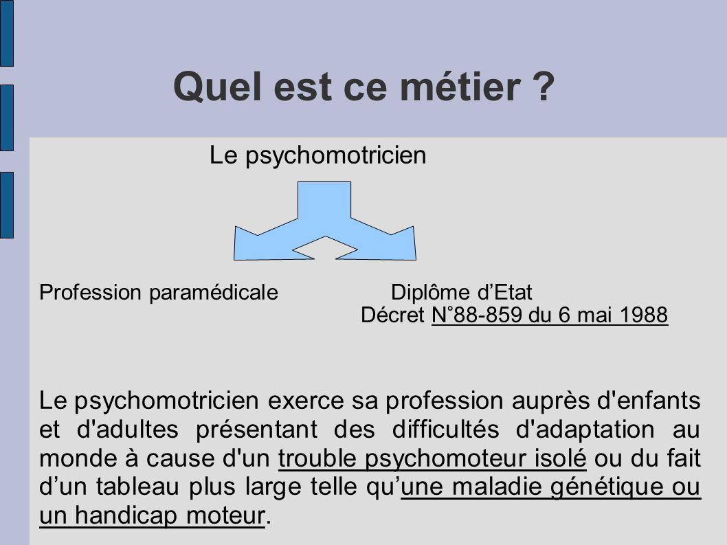 Quel est ce métier Le psychomotricien