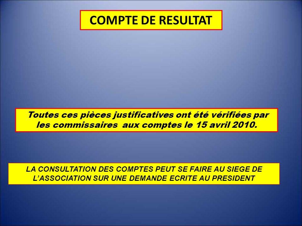 COMPTE DE RESULTATToutes ces pièces justificatives ont été vérifiées par les commissaires aux comptes le 15 avril 2010.