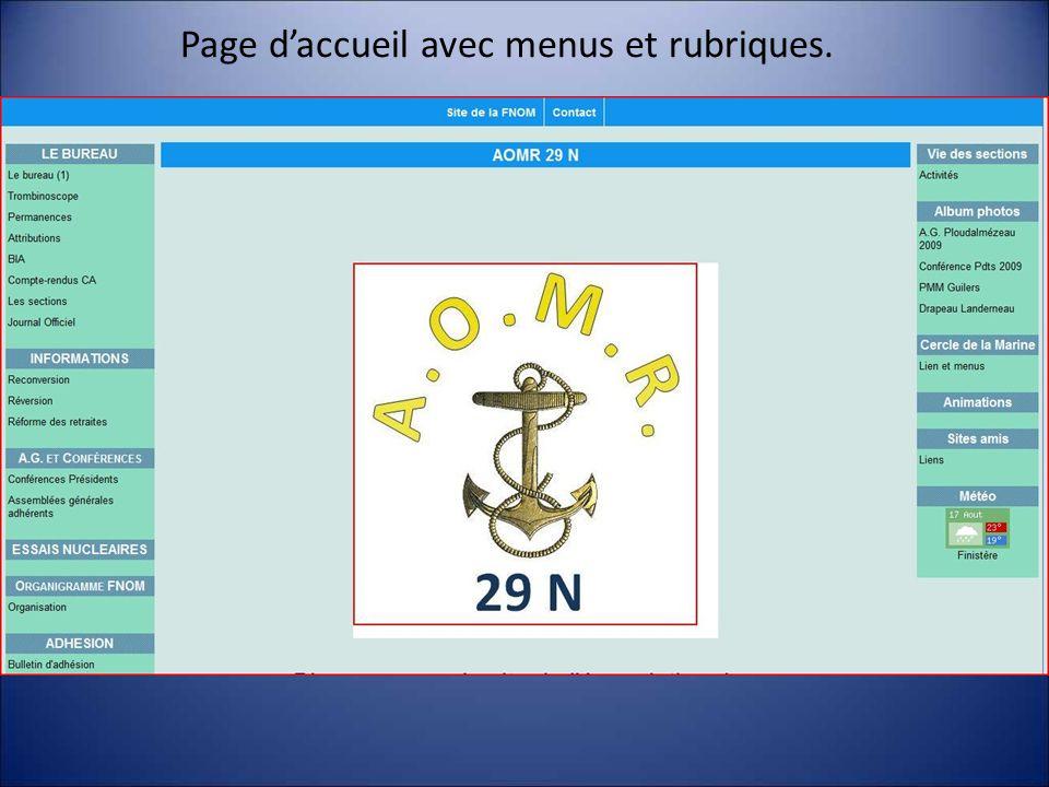 Page d'accueil avec menus et rubriques.