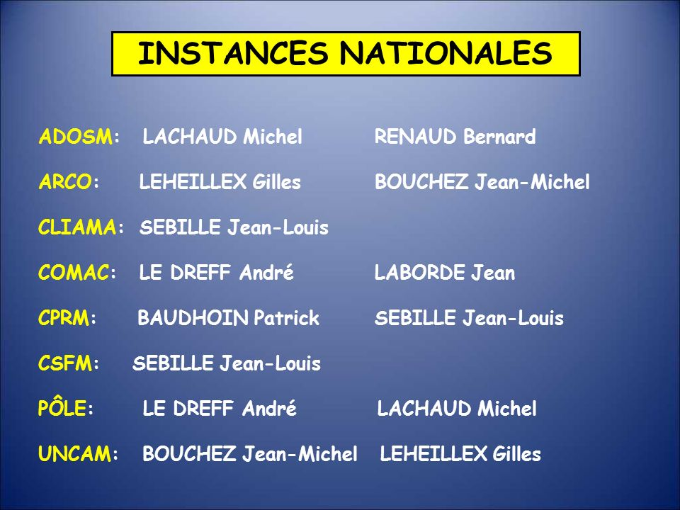 INSTANCES NATIONALES ADOSM: LACHAUD Michel RENAUD Bernard