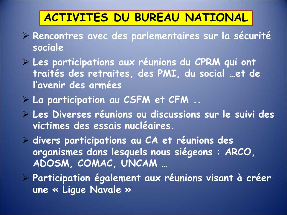 ACTIVITES DU BUREAU NATIONAL