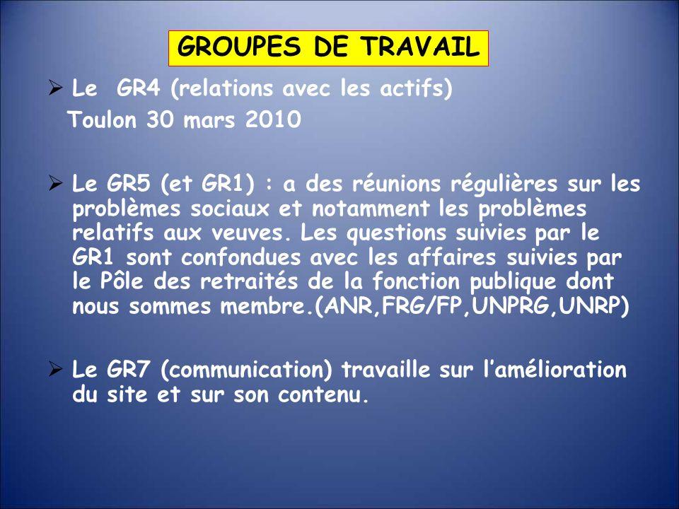 GROUPES DE TRAVAIL Le GR4 (relations avec les actifs)