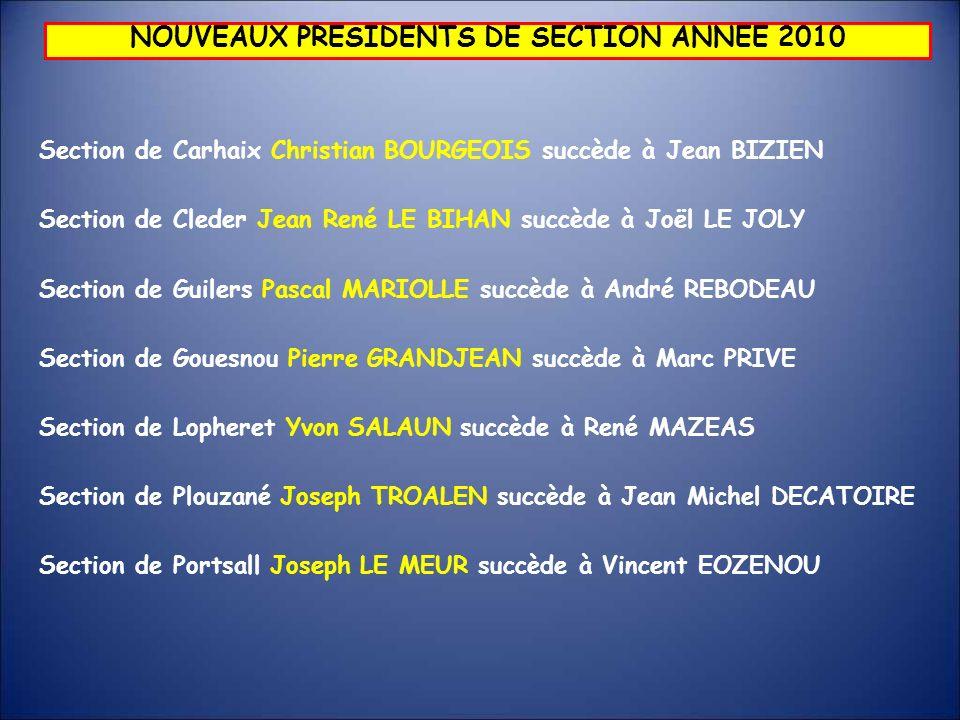 NOUVEAUX PRESIDENTS DE SECTION ANNEE 2010