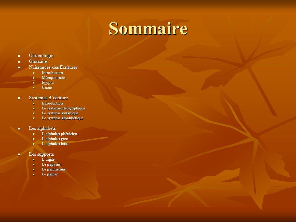 Sommaire Chronologie Glossaire Naissances des Ecritures