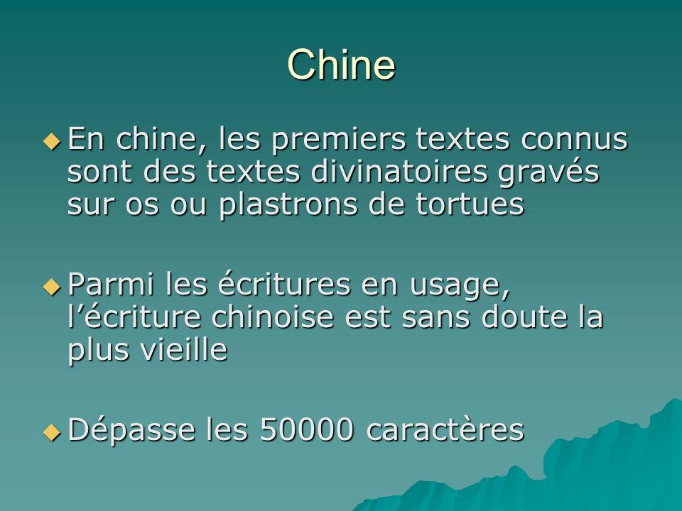 Chine En chine, les premiers textes connus sont des textes divinatoires gravés sur os ou plastrons de tortues.