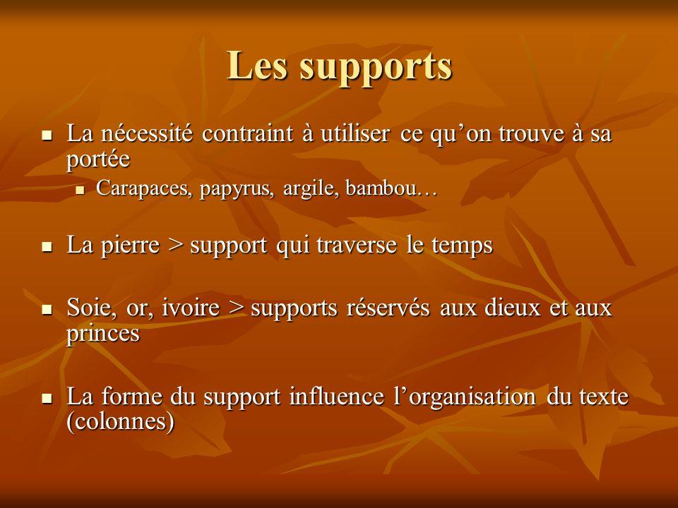 Les supports La nécessité contraint à utiliser ce qu'on trouve à sa portée. Carapaces, papyrus, argile, bambou…