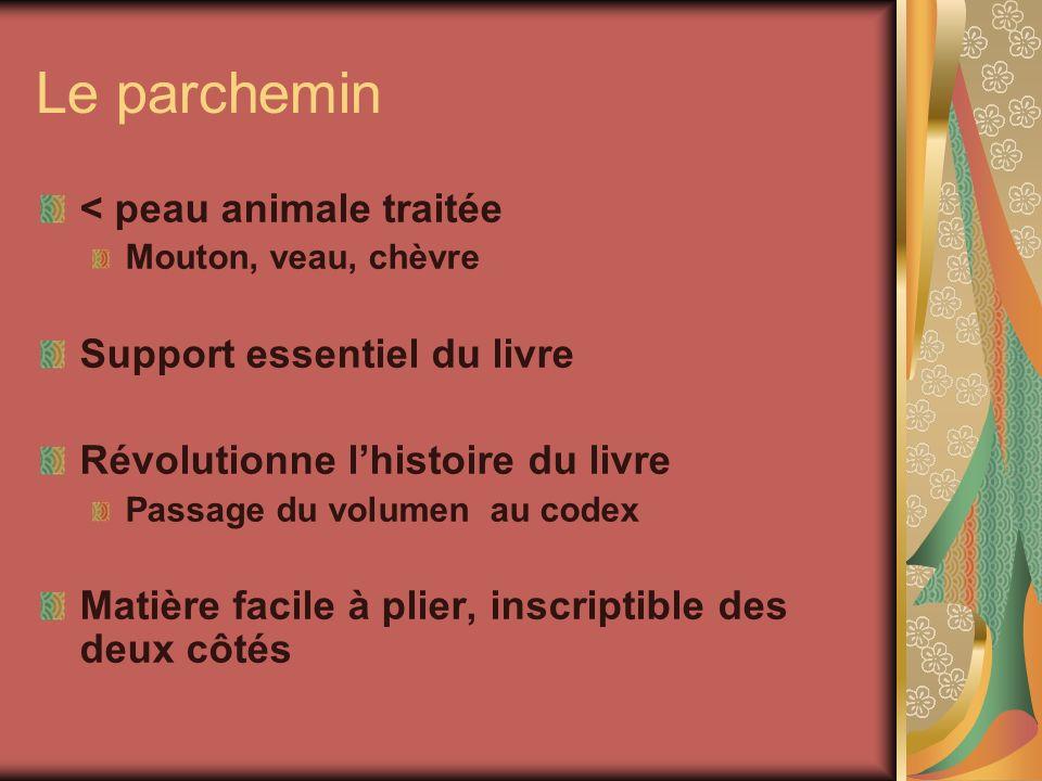 Le parchemin < peau animale traitée Support essentiel du livre