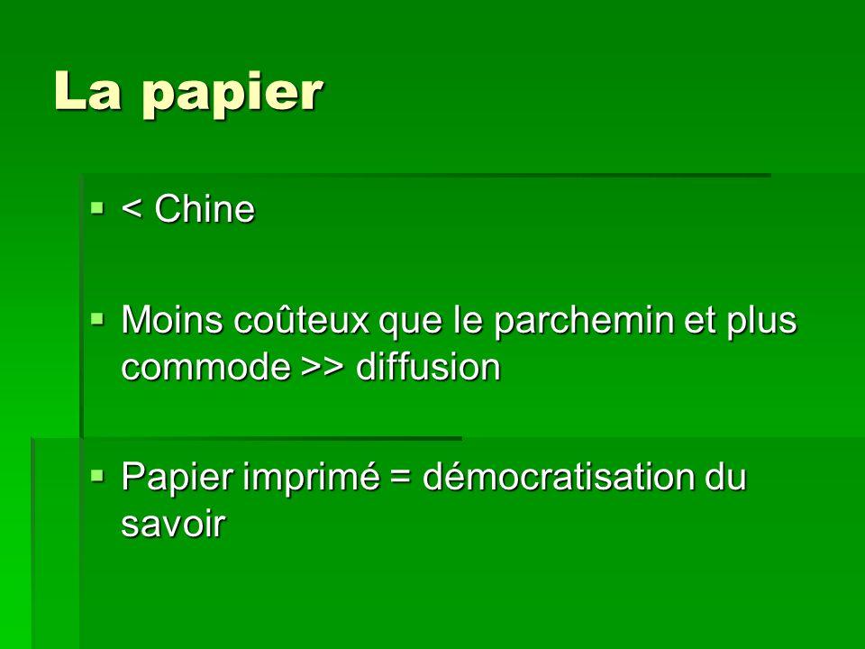 La papier < Chine. Moins coûteux que le parchemin et plus commode >> diffusion.