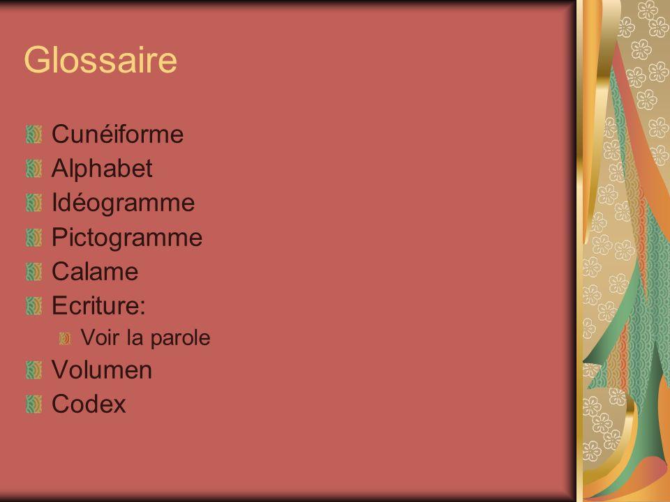 Glossaire Cunéiforme Alphabet Idéogramme Pictogramme Calame Ecriture:
