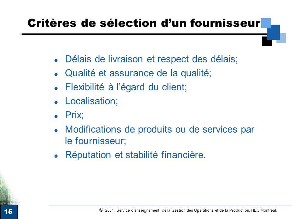 Critères de sélection d'un fournisseur