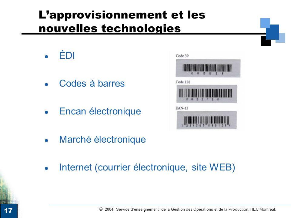 L'approvisionnement et les nouvelles technologies
