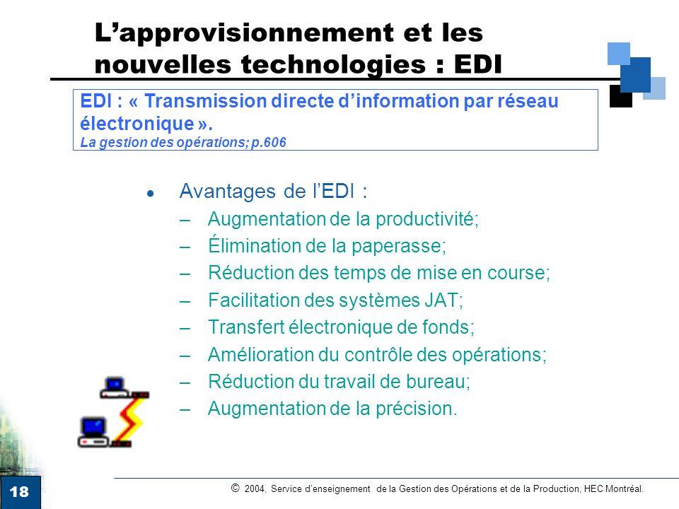 L'approvisionnement et les nouvelles technologies : EDI