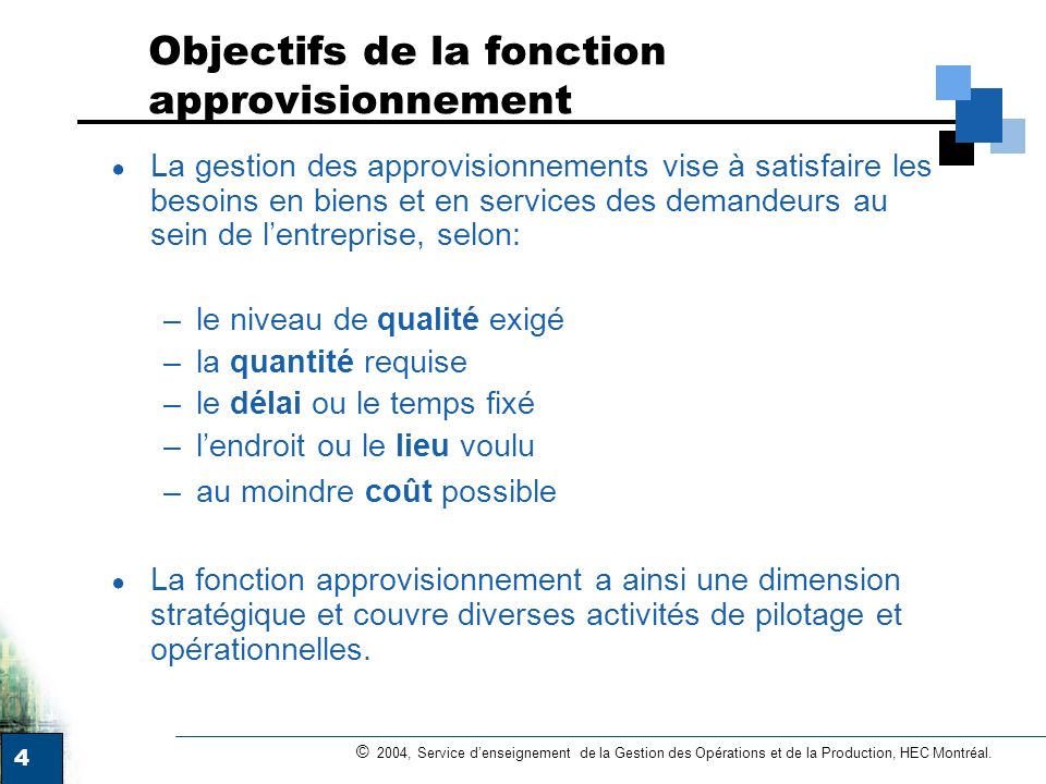 Objectifs de la fonction approvisionnement